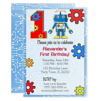 ęr Coutume de robot d'anniversaire Carton D'invitation 12,7 Cm X 17,78 Cm