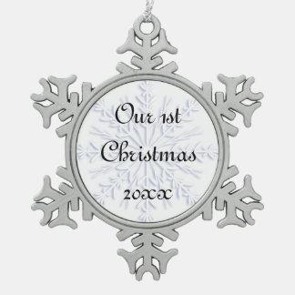 ęr De Noël flocon de neige bleu ensemble Ornement Flocon De Neige Pewter