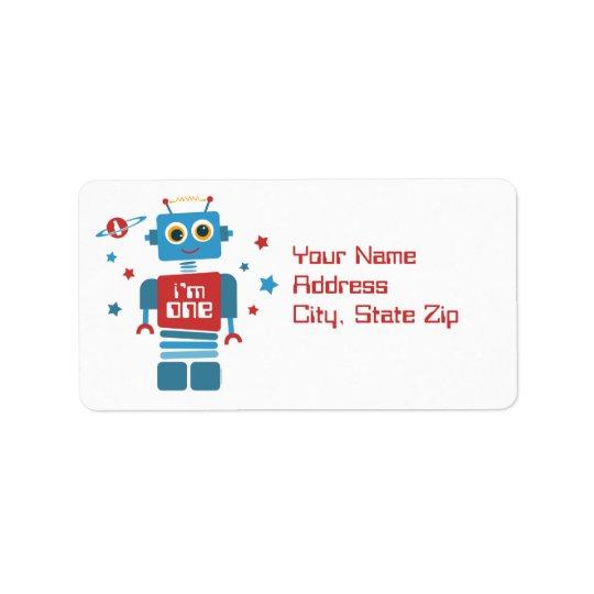 Ęr étiquette d'anniversaire de robot