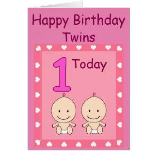 ęr Filles jumelles d'anniversaire faites sur Cartes