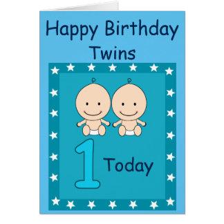 ęr Garçons jumeaux d'anniversaire faits sur Carte De Vœux