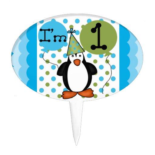 Ęr gâteau d'anniversaire de pingouin Topper Piques À Gâteaux