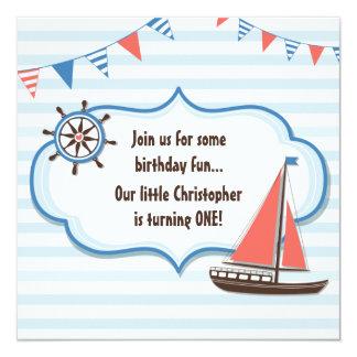 Ęr invitation d'anniversaire de garçons nautiques