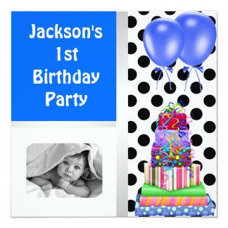ęr L'anniversaire monte en ballon les cadeaux Carton D'invitation 13,33 Cm