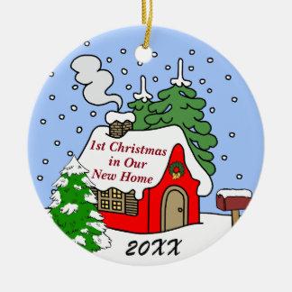 ęr Noël dans la nouvelle maison Ornement Rond En Céramique