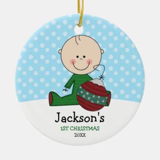 Ęr Noël de bébé mignon personnalisé Ornement Rond En Céramique