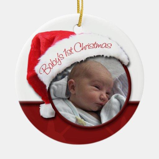 Ęr Noël du bébé - ornement de photo de chapeau de