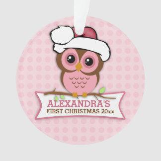 Ęr Noël du bébé rose de hibou
