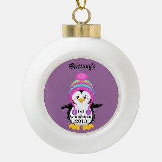 ęr Ornement de boule de pingouin de Noël