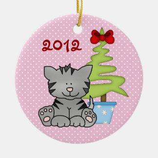 Ęr ornement de chat de Noël du bébé personnalisé