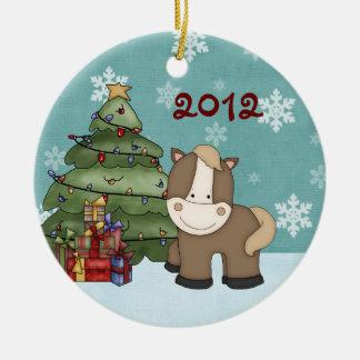 Ęr ornement de cheval de Noël du bébé personnalisé