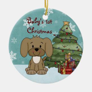 Ęr ornement de chien de Noël du bébé personnalisé