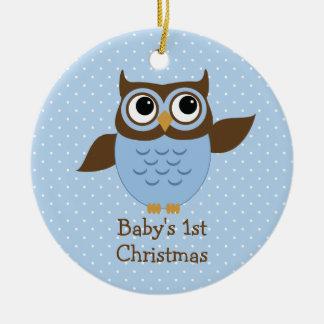 Ęr ornement de Noël du bébé bleu mignon de hibou