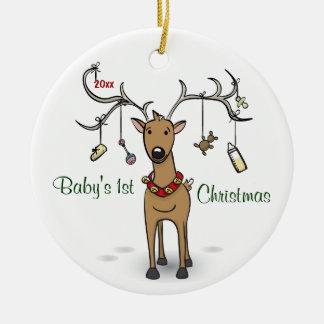 Ęr ornement de Noël du bébé - photo de renne