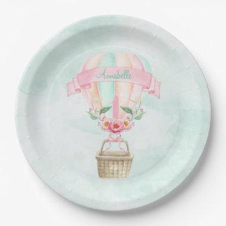 ęr Pêche chaude de rose de menthe de ballon à air Assiettes En Papier