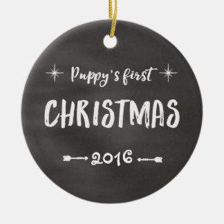 Ęr tableau de Noël du chiot Ornement Rond En Céramique