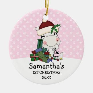 Ęr zèbre de Père Noël de Noël de fille Ornement Rond En Céramique
