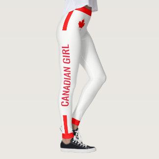 Érable canadien de fille sur rouge et blanc leggings