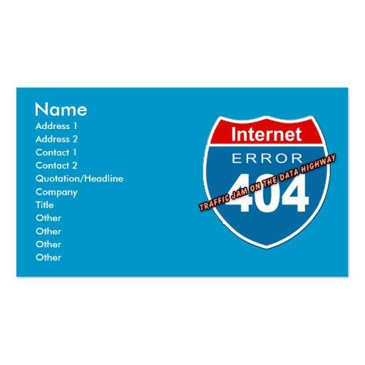 Erreur 404 d'Internet Cartes De Visite Personnelles
