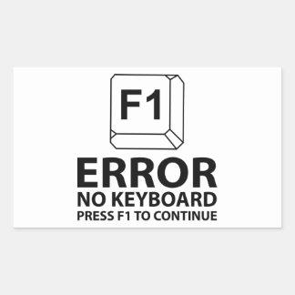 Erreur aucune presse F1 de clavier à continuer Sticker Rectangulaire