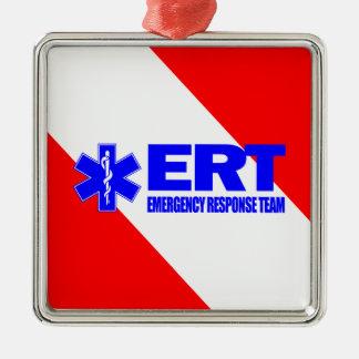 ERT - Équipe de réponse de secours Ornement Carré Argenté