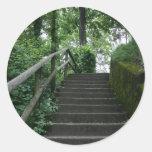 Escalier aux arbres sticker rond