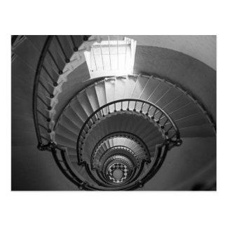 Escalier en spirale de phare de B&W Carte Postale