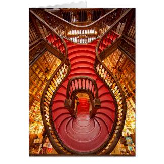 Escalier rouge fleuri, Portugal Carte De Vœux