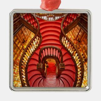 Escalier rouge fleuri, Portugal Ornement Carré Argenté