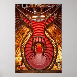 Escalier rouge fleuri, Portugal Poster