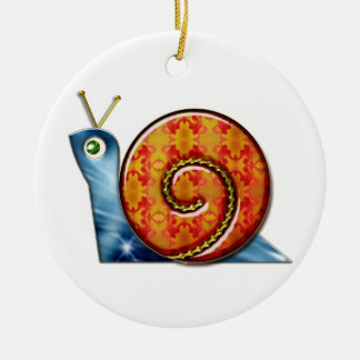 Escargot astucieux ornement rond en céramique