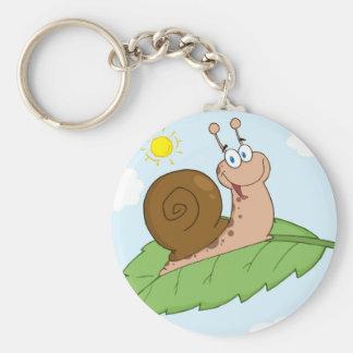 Escargot superbe de sourire sur sa feuille porte-clé rond
