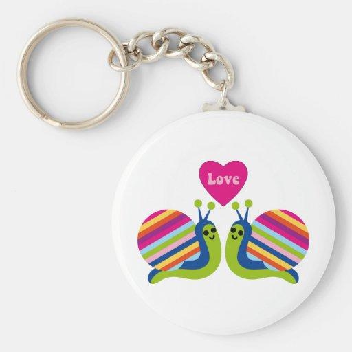 Escargots dans l'amour - escargots rayés de ressor porte-clefs