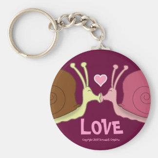 Escargots dans le porte - clé d'amour porte-clé rond