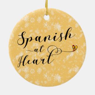 Espagnol à la décoration de vacances de coeur, ornement rond en céramique