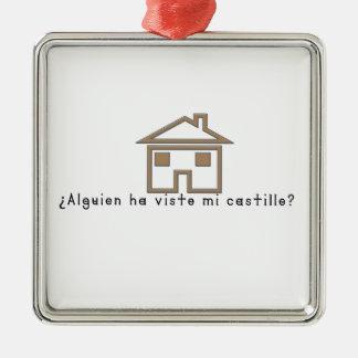 Espagnol-Château Ornement Carré Argenté
