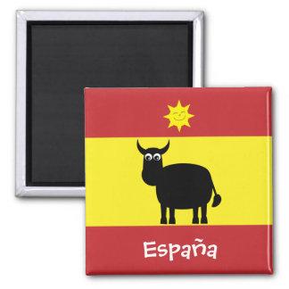 Espagnol drôle Taureau et aimant de drapeau de Sun