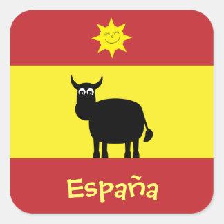 Espagnol mignon Taureau, Sun et drapeau Stickers Carrés
