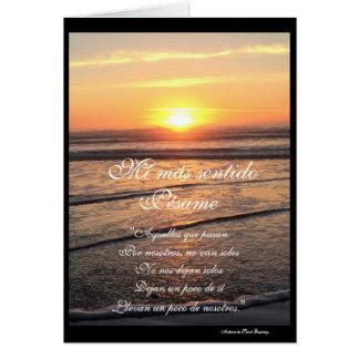 Espagnol : poema de puesta de sol y carte de vœux