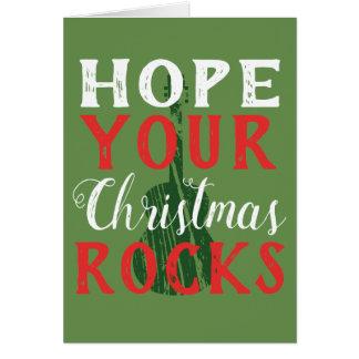 Espérez votre carte de voeux de roches de Noël