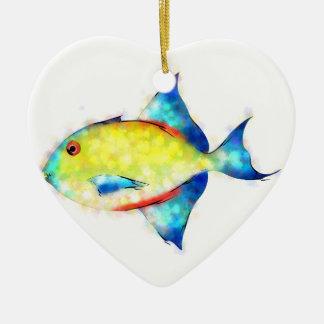 Esperimentoza - poisson magnifique ornement cœur en céramique