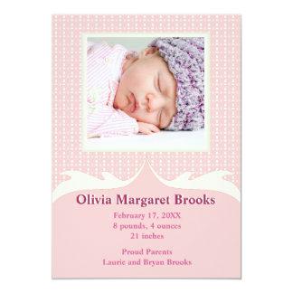 Espiègle dans le faire-part de naissance rose de carton d'invitation  12,7 cm x 17,78 cm