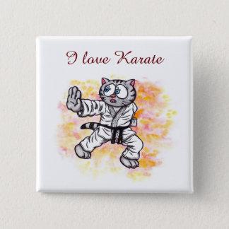 Esprit de combat de chaton de karaté badge