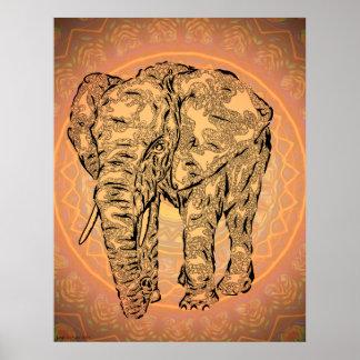 """""""Esprit d'éléphant"""" - version2, animal surréaliste Posters"""