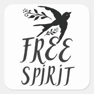 esprit libre avec le joli oiseau d'hirondelle sticker carré