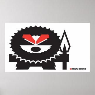 Esquimau fâché - noir sur la lumière affiche