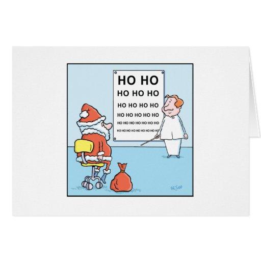 Essai de l'oeil de Père Noël de bandes dessinées Cartes De Vœux