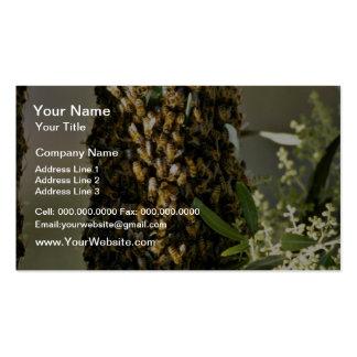 Essaim d'abeille en fleurs de rose d'arbre carte de visite standard