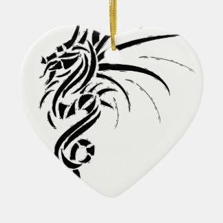 Essemios - dragon furieux ornement cœur en céramique