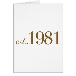 Est 1981 (année de naissance) carte de vœux